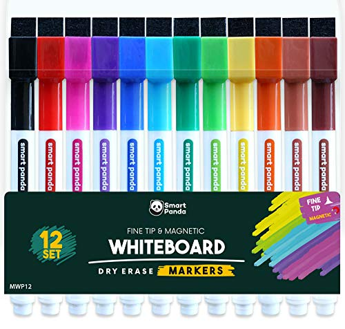 12 Whiteboard-Stifte mit dünner Spitze – Magnetische, Whiteboard-Marker mit feine Spitze und mit Löscher – Trocken abwischbare Marker, für Zuhause, Schule und Büro – 12er-Set mit verschiedenen Farben