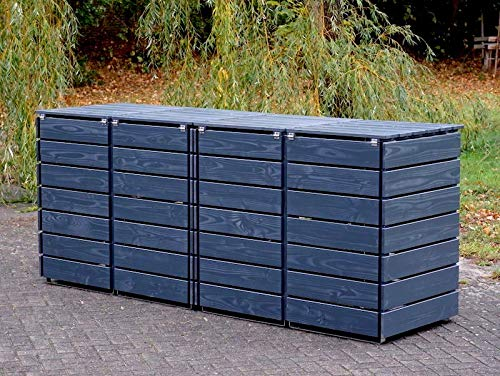 4er Mülltonnenbox / Mülltonnenverkleidung 240 L Holz, Deckend Geölt Anthrazit Grau - 4