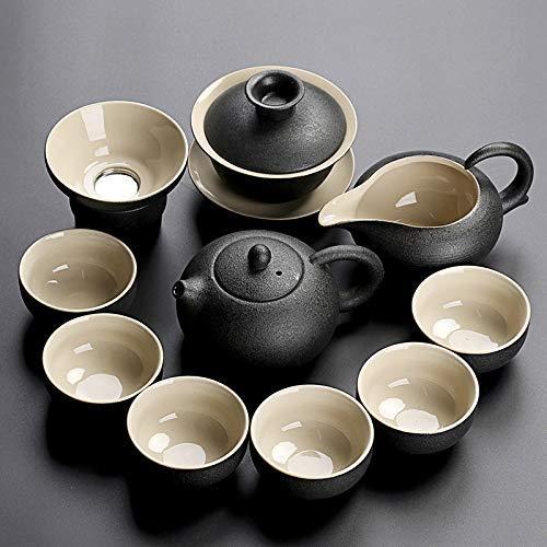 ZJSXIA Juego de té Vajilla Negra Tetera de cerámica Taza de té China Kung Fu Conjuntos de té Tabho Juego