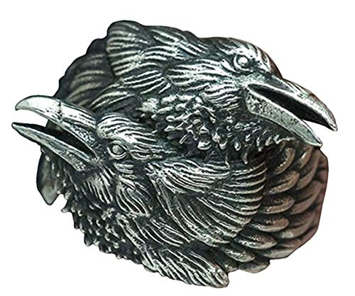 STORE247 - New Store 316L Stainless Steel Ring Viking Men Two Entwined Ravens Ring Norse Mythology Silver Color Odin Crow Stainless Steel Rings Nordic Amulet Jewelry (14)