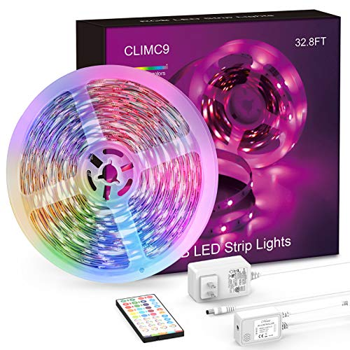 LED Strip Lights,1 Roll 32.8ft 5050 RGB SMD LED Tape Lights, Multiple Color Changing LED Strip Light with IR Remote/Music Sync, Strong Adhesive Kit for Home, Ceiling,Bedroom, Kitchen,DIY Decoration