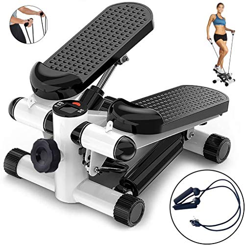 LJBOZ Swing Stepper, Mini Stepper Cardio Fitness, Ejercicio Aparatos para Hacer Ejercicio en Casa,con Pantalla LCD y Cuerdas de Resistencia