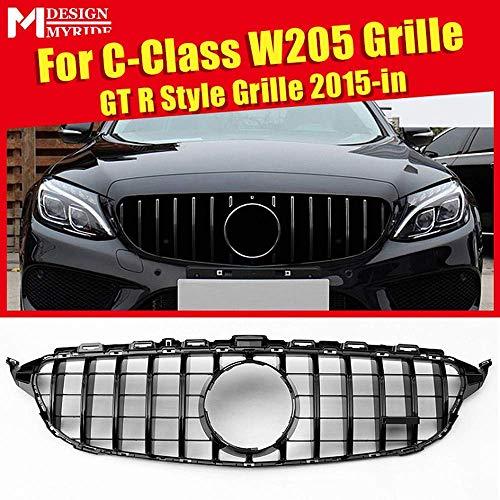 QTCD Parrilla Delantera Grill GTS Look Abs Gloss Black Agregar En GT R Amg Style para Mercedes C Class W205 C205 Sport Coupe C63 2015-2018