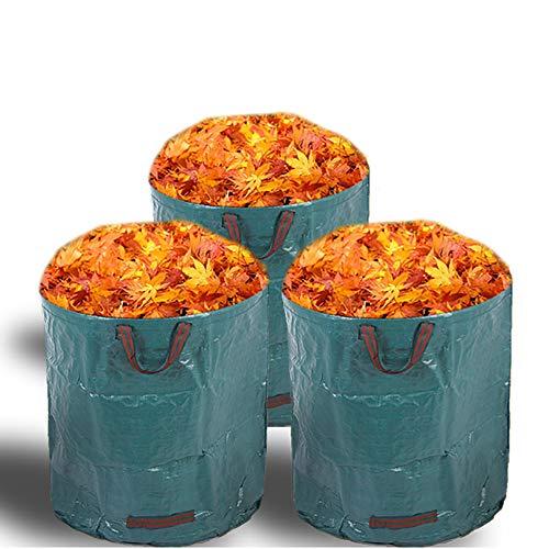 Alaskaprint 3X Gartenabfallsack Selbstaufstellend 272L 272 Liter Gartentasche Gartensack Abfallsack Laubsack Gartenabfälle Gartenkorb verschließbar mit Deckel 380g Sack