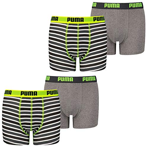 PUMA Jungen Boxershort Basic Boxer Printed Stripe 4er 6er 8er Multipack 128 140 152 164 176 Uni Gestreift 95% Baumwolle ohne Eingriff, Größe:158-164, Packgröße:4 Stück, Farbe:Fluo Yellow/Grey (005)