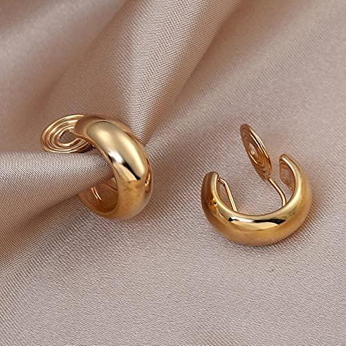 Vintage Golden Minimalista C Forma Clip en Pendientes de aro Pendientes Lindos no Perforados para Mujeres Regalo de joyería de Tendencia