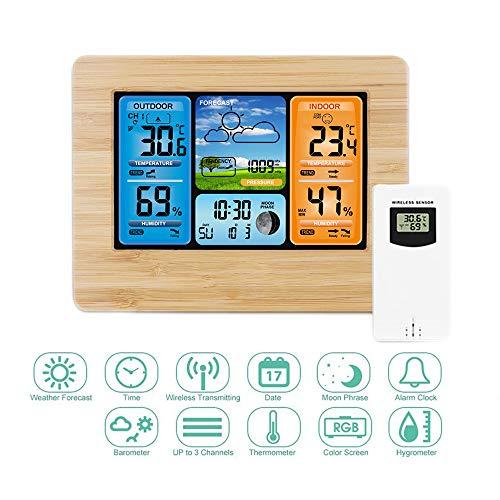 Digital Wireless Wetterstation Wecker Snooze mit Outdoor Wireless Sensor,Wettervorhersage Digital Thermometer Hygrometer Barometer Temperatur Luftfeuchtigkeit Meter mit 6,5inch LCD-Bildschirm (Gelb)