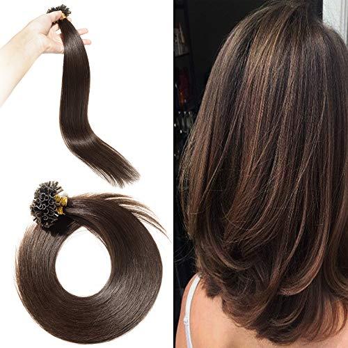 Rajout Extension Cheveux Naturel Keratine Pose a Chaud Vrai Cheveux Humain - 100 Mèches 50g (#02 Châtain Foncé, 22\