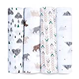 Aden by aden + anais Swaddle Blanket, Muslin Blankets for Girls & Boys, Baby Receiving Swaddles, Ideal Newborn Gifts, Unisex Infant Shower Items, Wearable Swaddling Set,4 Pk,Bear Necessities
