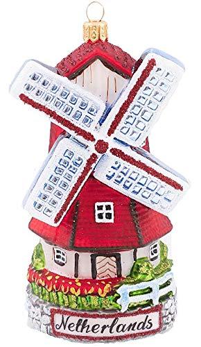 Netherlands Windmill Dutch Polish Glass Christmas Tree Ornament Travel Souvenir