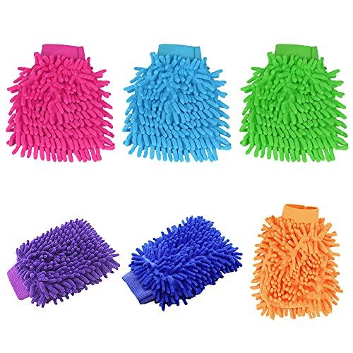Auto Waschhandschuh Chenille,Speyang Mikrofaser Autowaschhandschuh, Waschhandschuh Auto Mikrofaser, Mikrofaser Handschuh Auto,6 stücke Auto Handschuh Reinigung(Farbe zufällig)