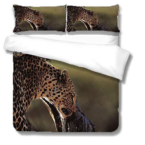 QIAOJIN Juego de ropa de cama con estampado de animales de leopardo, funda nórdica para niños y niños, microfibra reversible, muy suave, transpirable, con cremallera (g, 135 x 200)