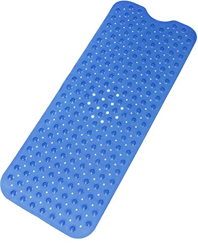 Dr. Health Anti-Bacterial Anti-Slip-Resistant Bath Room Shower Bathtub Bath Mat, 16' W x 39' L, Extra Long (Blue 1PC)