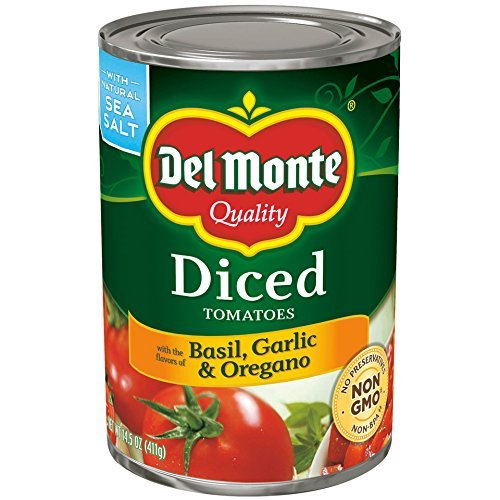 Del Monte Diced Tomatoes with Basil, Garlic & Orgegano - with Natural Sea Salt 14.5 oz. (Pack of 3)