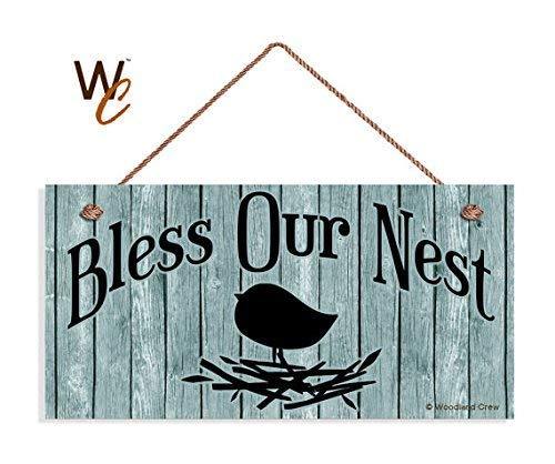 BridgetWhy50 Panneau de Porte Inscription en Anglais « Bless Our Nest », « Country Cascade », « Country Cascade » en Bois, 12,7 x 25,4 cm