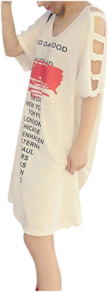 Women's Korean Style Half Sleeves O-Neck Dresses Letter Print Casual Lace Up Slim Tops Brushed Korean Dress Summer