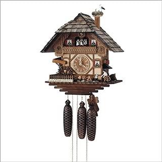 Alemán Reloj de cuco - estilo Chalet - mecanismo con cuerda para 8 días - 44 cm - Auténtico reloj de cuco del bosque negro - de Anton Schneider