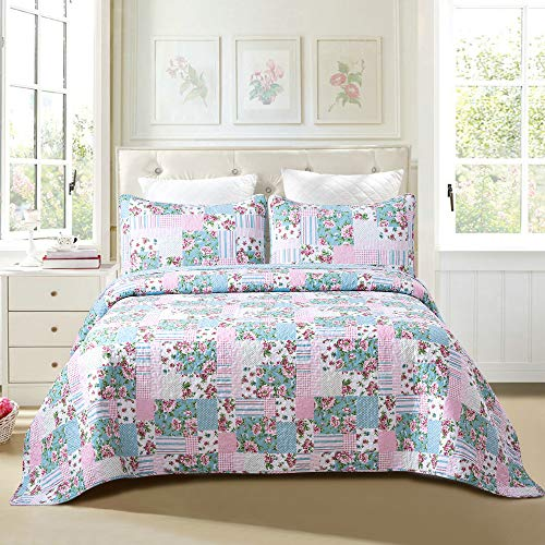 Soul & Lane Layla 3-Piece 100% Cotton Lightweight Quilt Set - King with 2 Shams | Summer Country Quilted Bedspread