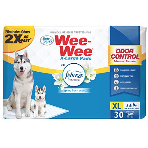 Four Paws Wee-Wee Odor Control Extra Large Pee Pads for Dogs with Febreze Freshness 30 Count X-Large 28