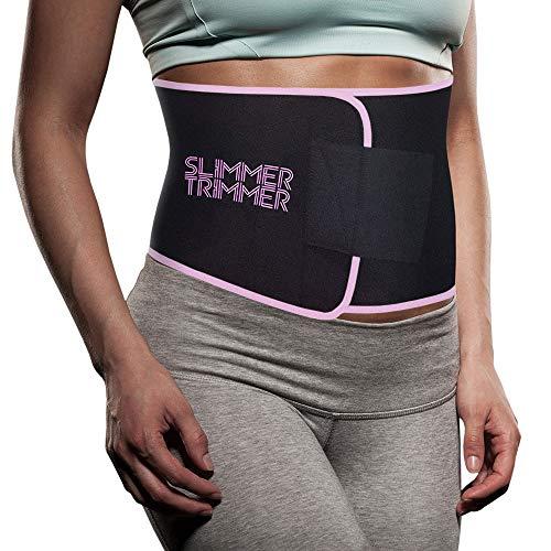 Slimmer Trimmer Premium Waist Trimmer - Weight Loss Sweat Belt Waist Trainer for Women + Men Adjustable Thermal Stomach Slimming Wrap. Belly Fat Burner, Abdominal Lower Back Support (S-M - Up to 41)