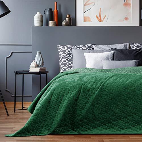 AmeliaHome Tagesdecke 200x220 cm grün zweiseitig Steppung Velvet Samt Laila