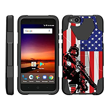 TurtleArmor   Compatible with ZTE Avid 4 Case   ZTE Tempo X Case   Blade Vantage Case [Dynamic Shell] Impact Hard Kickstand Hybrid Shock Silicone Cover Robot Military Army - American Soldier