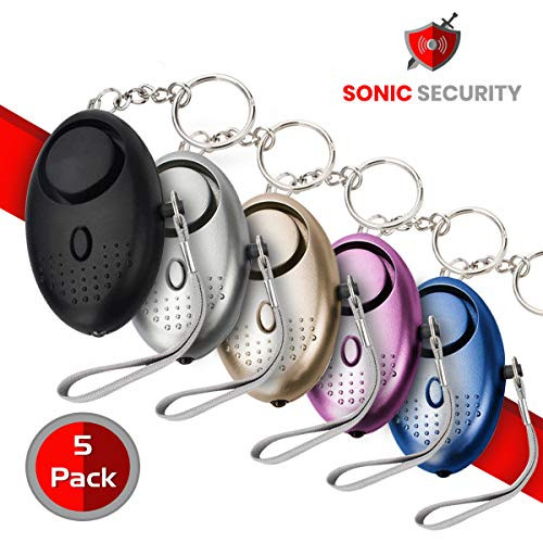 Sonic Security Personal Alarm Keychain – Self Defense Siren – Portable and Lightweight – 130 dB, Extra Loud Self Defense Alarm Whistle – Safe Sound Rape Whistle – 5 Pack