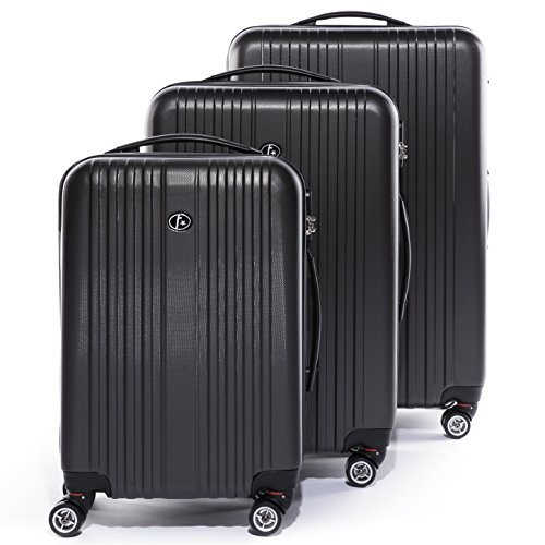 FERGÉ Kofferset Hartschale 3-teilig Toulouse Trolley-Set - Handgepäck 55 cm, L und XL 3er Set Hartschalenkoffer Roll-Koffer 4 Rollen 100% ABS grau