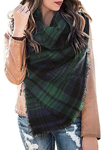 CheChury XXL Damen Schal Kariert übergroßer quadratisch Deckenschal Karo Tartan Streifen Plaid Muster Oversized Fransen Poncho