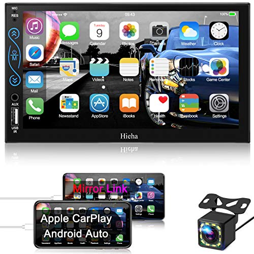 Hieha Car Stereo Compatible with Apple Carplay and Android Auto, 7 Inch Double Din Car Stereo with Bluetooth, Touch Screen Car Radios MP5 Player with A/V Input, Backup Camera, Mirror Link, SWC