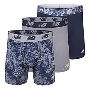 """New Balance Men's 6"""" Boxer Brief Fly Front with Pouch, 3-Pack ,Print/Steel/Pigment, Medium (32""""-34"""")"""