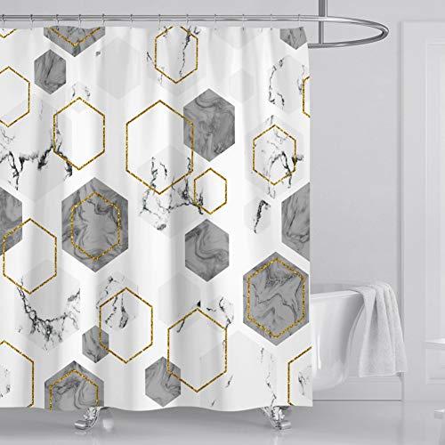 Topyuan Duschvorhang mit 3D-Digitaldruck, schöner Marmor-Thema, hochdichter, ultraweicher Stoffvorhang (1,8 x 1,8 m)