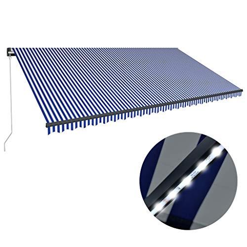 Goliraya Toldo Manual Retráctil con LED Toldo Retráctil para Terraza Balcón Azul y Blanco 600x300 cm