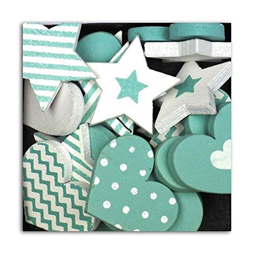 D.I.Y met Toga vormen harten en sterren, hout, pak van 25 turquoise blauw, 9,5 x 7,5 x 1,5 cm