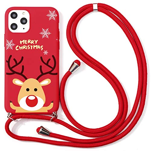 Yoedge per iPhone 12 PRO / 12 6,1' Cover,Cartoni Animati Natale Alce Antiurto Morbido Custodia TPU Silicone Rosso con la Corda di Nylon Protective Bumper Phone Cases per Apple iPhone 12 PRO 6,1',Alce