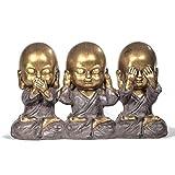 Verre Cadeaux Figurine Décorative Moines Bouddhistes Ne voit pas Oye Ne parle pas 25 cm