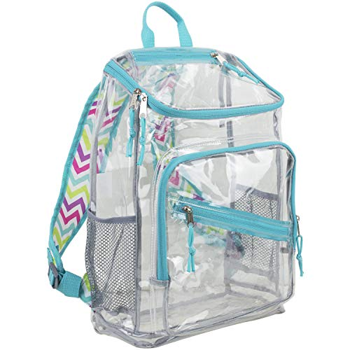 Eastsport Clear Top Loader Backpack, Minty Blue/Spike Chevron Print
