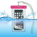 Waterproof Case Bag: Stalion Sports Universal Water Safe Pouch (Fuchsia Pink) for All iPhone 6 6s Plus Samsung Galaxy S7 S6 Edge+ Note 5 iPod Touch HTC One M9 and Other Smartphones
