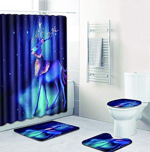 Bishilin Toiletten Teppich Elch Hirsch 45x75 Badematten Set 4 Teilig Duschvorhang Anti-Schimmel 180x180