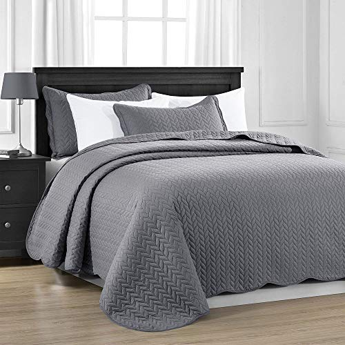 MOONLIGHT20015 Quilted bedspread throw-Double 220x240 CM + 2 Pillow Shams for Bedroom Decor Reversible Coverlet Embossed Quilt Bedspread with Matt Finish