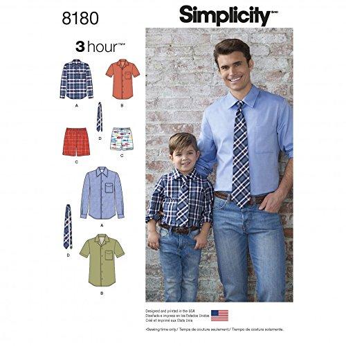 Herren und Jungen, leichte Schnittmuster 8180,für Hemd, Boxershorts und Krawatte, von Simplicity