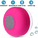 BONBON Bluetooth Shower Speaker Waterproof - Handsfree Portable Speakerphone with Built-in Mic,4hrs of Playtime, Wireless Bluetooth Devices,Dedicated Suction Cup for Showers,Bathroom,Pool(Pink)