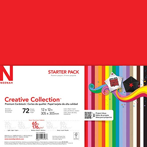 Neenah Creative Collection Specialty Cardstock Starter Kit, 12' x 12', 65 lb, 18-Color Assortment, 72 Sheets (46408-02)