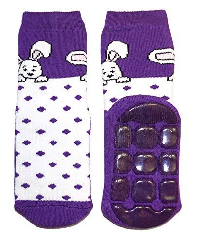 Weri Spezials Kinder Voll-ABS Socke Hase+Punkte Motiv in Violett Gr.23-26 (3-4 Jahre)