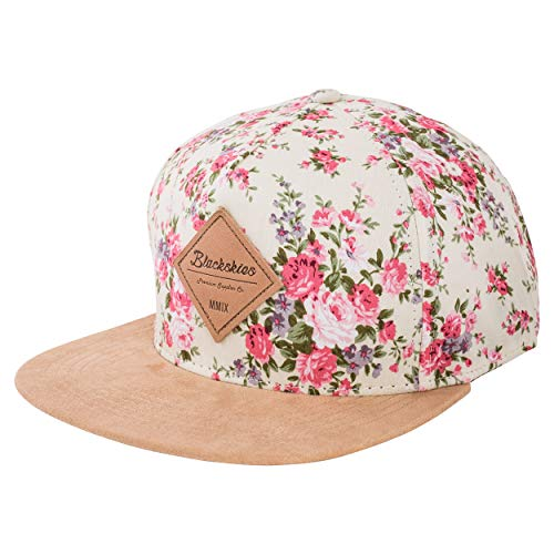 Blackskies Sakura Snapback Cap Weiß Kirschblüten Frauen Damen Herren Unisex Baseball Mütze Blumen Floral
