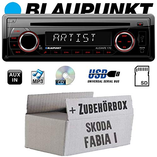 Skoda Fabia 1 - Autoradio Radio Blaupunkt Alicante 170 - CD/MP3/USB - Einbauzubehör - Einbauset