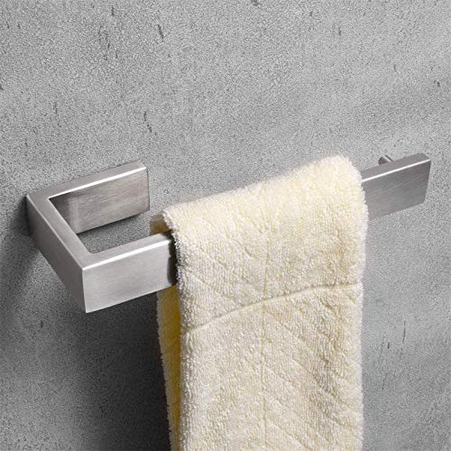 Nolimas Bathroom Hardware Towel Bar SUS 304 Stainless Steel Square Towel Ring Shelf Holder Rack for Bath Kitchen Garage Heavy Duty Wall Mounted, Nickel Brushed