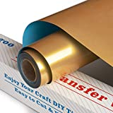 Gold HTV Heat Transfer Vinyl 12Inch x5Feet Roll,PU Iron On Vinyl for Silhouette Cameo,Easy to Cut & Weed HTV Vinyl,Heat Transfer Vinyl for T-Shirts(Gold)