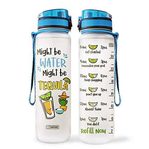 64HYDRO 32oz 1Liter Motivational Water Bottle with Time Marker, Tequila Lover Might be Water Might be Tequila NPT0106004 Water Bottle