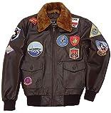 Top Gun Bomber Navy Flight A2 - Chaqueta de piel sintética para piloto militar G1, Marrón - Top Gun Bomber Jacket, XXXL